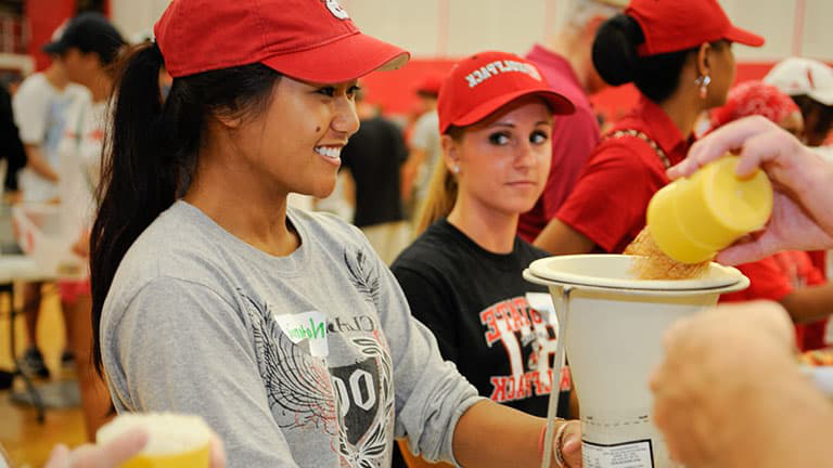 NC State students undertaking a food drive as part of their service through CSLEPS.