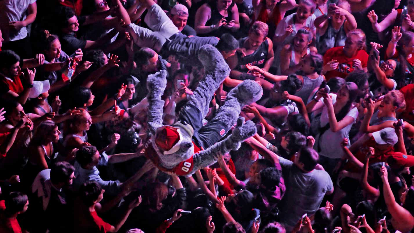Mr. Wuf crowd surfs the audience during the We The Kings packapalooza performance.